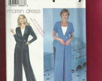 Simplicity 9660 Hostess Jumpsuit with Wide Legs & Deep V Neck with Vesteee Sizes 12..14..16 UNCUT