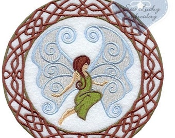 Celtic Fairy Applique Embroidered Patch, Sew or Iron on
