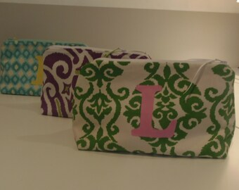 Custom made monogrammed large zippered pouch