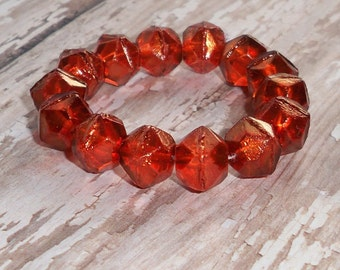 Orange 10mm Czech Glass English Cut Bead Metallic Rustic EMBERS (10)