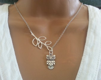 Antique Silver Lariat Style Owl Necklace