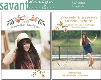 Graduation Photography Card Template - Flowers In Her Hair 1