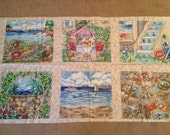 Lovely Seaside Theme Boxes 100% Cotton Fabric Panel