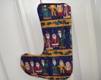 Sock It Away  gift card stocking, place card setting, hostess gift-has zipper--Santa's clothes