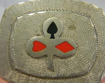 Vintage Poker Card Clover etched belt buckle silver tone