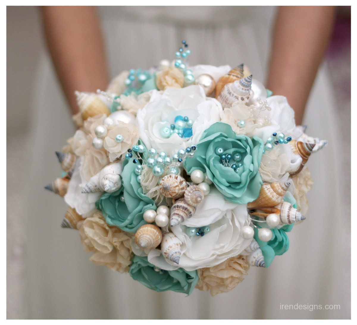 Beach Wedding Flower Ideas: Seashells Wedding Bouquet For Beach Wedding. By IrenDesigns