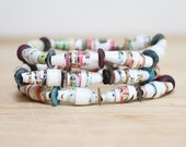 Bright Colors Recycled Book Page Paper Bead Bracelet Set