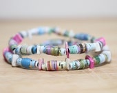 Teal and Rainbow Colored Recycled Paper Bead Bracelet Made With Damaged Children's Book