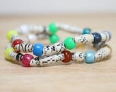 Recycled Charlie Brown Paper Bead Bracelet Set Made From Charlie Brown Book Pages, Colorful Bracelet Set, Organic Bracelet