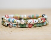 Goldilocks and The Three Bears, Recycled Paper Bead Bracelet, Made From Book pages, Librarian Gift, Teacher Gift, Book Lover
