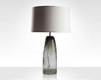 Champagne Whirl Glass Table Lamp with White Shade