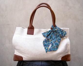 Aqua Handbag Scarf, Purse Scarf, Hair Scarf, Hair Wrap, Neck Bow, Hair Bow, Purse Sash, Twilly, Teen Gift, Womens Gift, Ready to Ship