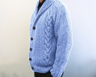 hand knitted mens cardigan light blue 100% wool