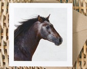FUEGO, Equine Art Card, Greeting card, Horse photography, Rustic, fall colours