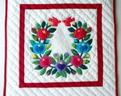 "Quilted Wall Hanging -  ""Rose Wreath with Red Birds"" -   Hand Applique - Fine Art for Your Wall"