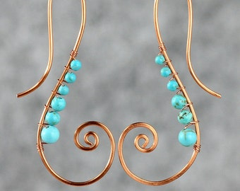 Copper serpentine spiral turquoise wiring Rococo earring handmade US freeshipping Anni Designs