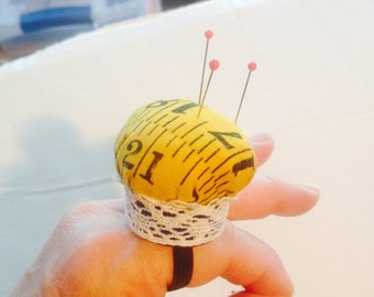 Handmade Finger Pincushion with Vintage Lace