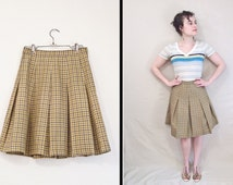 Olive GINGHAM Skirt 50s // Pleated Checkered Mini Green Khaki Small