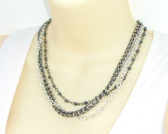 Triple Strand Chain Beaded Necklace - Chunky Thick Gunmetal Chain, Silver Chain and Black Beaded Multiple Chain Choker Necklace