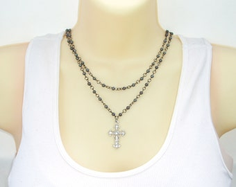 Goth Style Cross Necklace - Black Beaded Rhinestone Crystal Cross Double Strand Rosary Style Goth Necklace