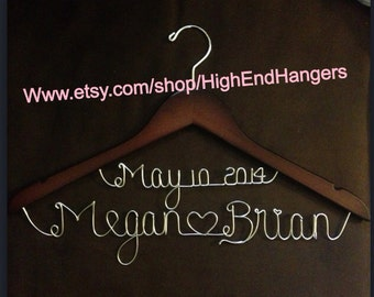 Custom wedding hangers, date and name wedding hanger sale