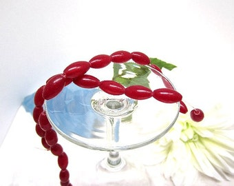 Beads Glass Opaque Red Ovals 16x9mm Bargain Beads Wholesale Jewelry Supplies