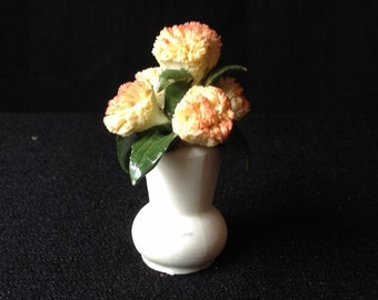 Franklin Porcelain Miniature Vase with Chrysanthemum from Flower of the Year 1981 Collection November