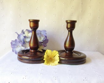 Vintage Pair of Mahogany Candlesticks