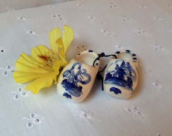 Pair of Miniature Vintage Ceramic Dutch Shoes marked HandpdBlue