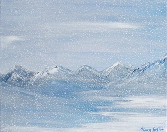 Print of original painting, winter wonderland, winter art, fine art, snowy mountains
