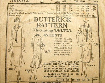 1920s Style Tie Neck Drop Waist Full Skirt Dress Custom Made in Your Size From a Vintage Pattern