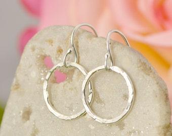 Sterling Silver Circle Dangle Earrings, Silver Earrings, Hammered Jewelry, Buy 2 Get 1 Free, Small Dangle Earrings
