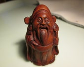 Reserved for Scott do not purchase netsuke hand carved HAPPY MONK  carving cherry stain on birch wood 2 inches very collectible