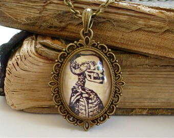 Anatomical Skeleton Necklace in Bronze - Antique Anatomy Print Pendant
