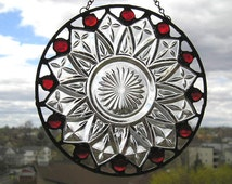 Stained Glass|Suncatcher|Vintage Plate|Federal Glass Plate|Vintage Plate Suncatcher|Red Glass Gems|Round Suncatcher|Handcrafted|Made in USA