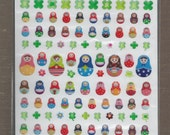 Kawaii Matryoshka Nesting Doll Japanese Epoxy Stickers