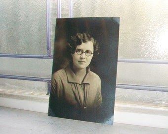Woman With Glasses Photograph Vintage 1930s