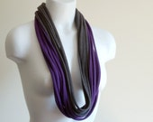 Infinity Scarf - Fabric Necklace - Cotton Jersey T Shirt Scarf Necklace - Purple Charcoal