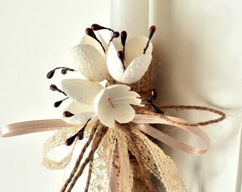 Greek Easter candle-Orthodox Easter candle-lambada-white easter candle with burlap and silk cocoon flowers