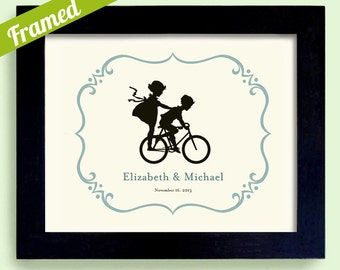 Unique Engagement Gift, Framed Bicycle Wedding Decor, Cute Wedding Gift, Kids on Bike