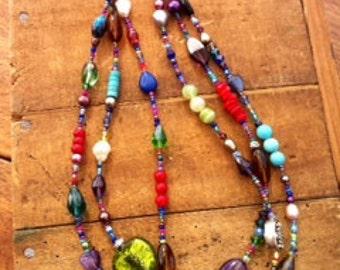 Multi Coloured 3 Strand Bead Necklace