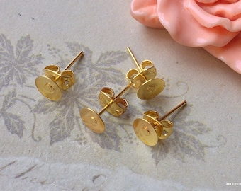 5 mm Golden Plated Earring Posts With Earring Stoppers (.msg)