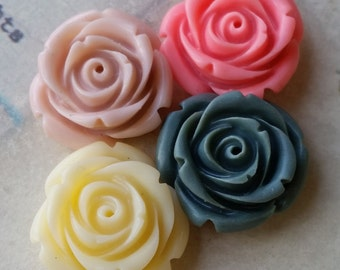 22 mm Garden Rose Resin Flower Cabochons of Assorted Colors (.nm) (zzb)