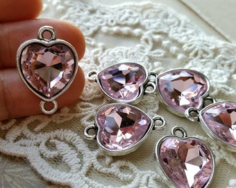 17 x 17 mm Tibetan Silver Heart Shape Charm Pendants / Drop Pendant / Charm Connector / Light Pink Zircon (s.h)