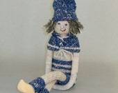 Stuffed Gnome Boy Doll-Blue Knee Hugger Elf Pixie-Scandinavian Tomte Nisse-Knitted Christmas Decoration-Nordic Style-Unique Gift Idea-Sale