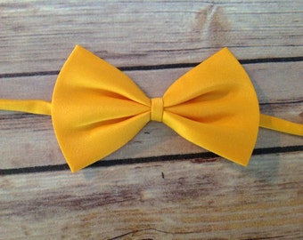 Solid Satin Bow Tie - Yellow