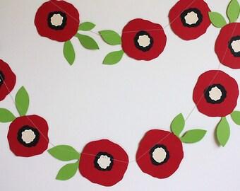 Poppies, Paper Poppy Garland, Hand cut Flower Garland, Paper Garland, Red Poppies, Valentines Garland