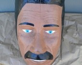 Carved Wooden Head, Weird, Folk Art, Man with Black Hair and Mustache