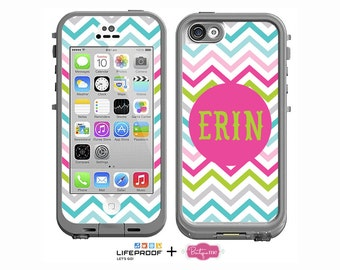 Sassy Chevron Monogrammed Decal for LifeProof iPhone 4/4s, iPhone 5/5s or iPhone 5c Case