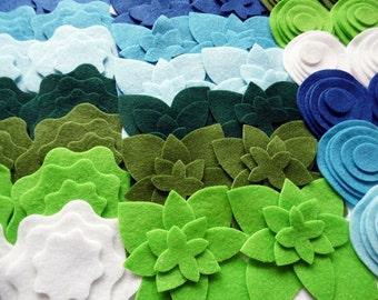 Felt Shapes VerdeAzul, Felt Flower and Felt Circles , set of 168 pieces